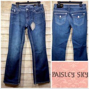 Paisley Sky Embellished Boot Cut  Blue Denim Jeans